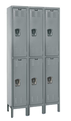 Hallowell U3228-2A-HG Premium Locker, 36'' Width x 12'' Depth x 78'' Height, Double Tier, 3-Wide, Assembled, 725 Gray by Hallowell