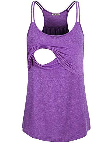 Larenba Maternity Nursing Tank Top, Ladies Green Soft Loose Fit Comfy Breastfeeding T-Shirt Layered Cute Feeding Tunic Loungwear Maternity Sleeveless Tank(Violet,Large) (Layered Tee Green)