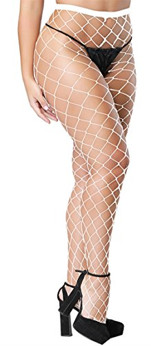 Eleray Women's High Waisted Fishnet Stockings Sexy Wide Mesh Fishnet Tights (White(Big Hole)) ()