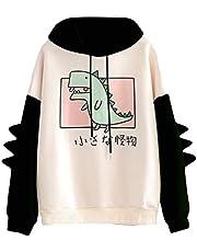 Kvinnor tonårstjejer dinosaurie huvtröja sweatshirt nyhet söt emo dinosaurie cosplay tecknad tröja huvtröja topp