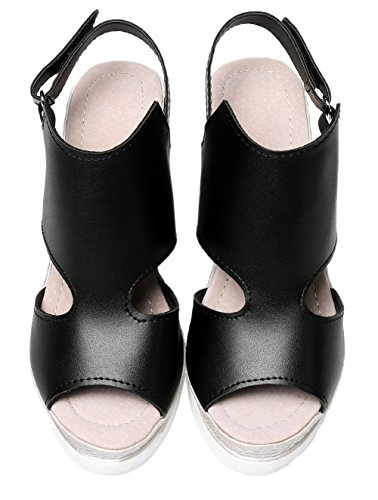 À Velcro Haut Talon Petite Ouverture Sandales Noir Unie Cuir Femme Couleur Agoolar Pu pq1EZZ
