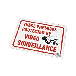 Surveillance Sign, Plastic, White, 8.5\