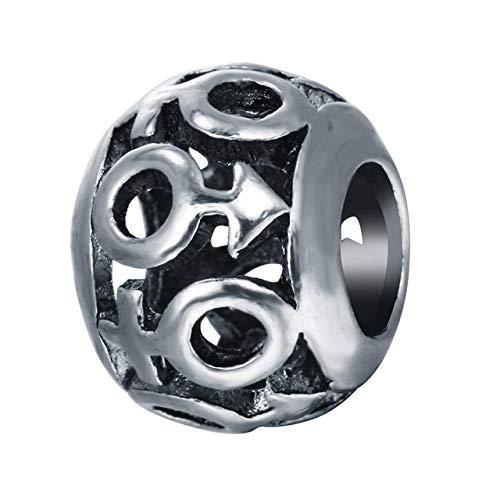 (Calvas Chandler 10Pcs/Lot Antique Silver Round Celti Knot Double C Beads Spacer Loose Beads Fits European Charm Bracelets Alloy Zinc - (Color: Style 4))