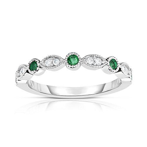 Noray Designs 14K White Gold Emerald & Diamond (0.08 Ct, G-H Color, SI2-I1 Clarity) Stackable Milligrain Ring by Noray Designs