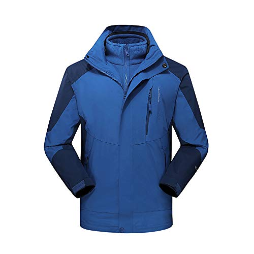 (Men's Winter Bomber Outdoor Outfit Two Piece Three in One Waterproof Breathable Coat Dark Blue)