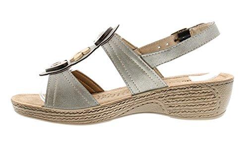 INBLU Womens Komfort Keil Sandalen mit Metallischen Oberfläche um Oberen und Holz Knopf Style Trimm Weich Wildleder Gepolstert Innensohle und Verstellbar Schnalle Verschluss Riemen