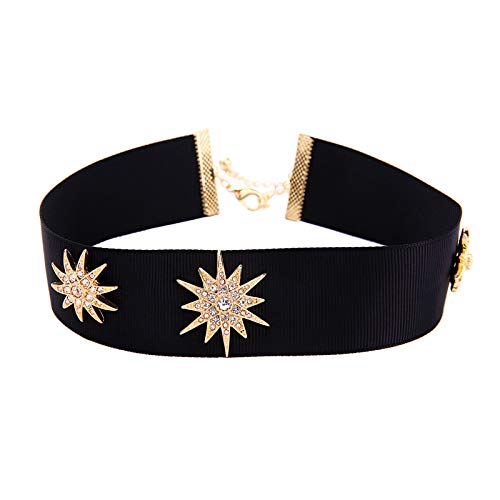 (MGZDH Women's Fashion Jewelry with Diamonds Star Ribbon Collar Fashion Trend Neckband)