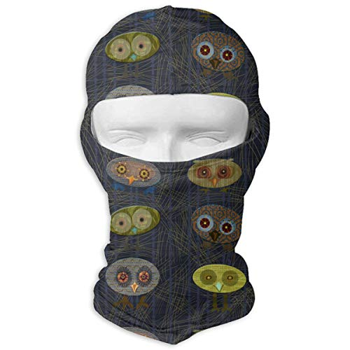 Park in The Dark Owls Men Women Balaclava Neck Hood Full Face Mask Hat Sunscreen Windproof Breathable Quick Drying White ()