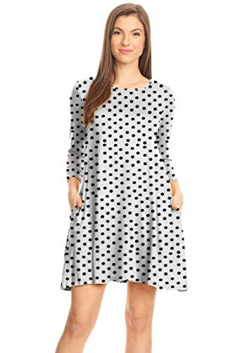 Casual T Shirt Dress for Women Flowy Tunic Dress with Pockets Reg and Plus Size - USA (Size XX-Large, Polka Dot Ivory/Black)
