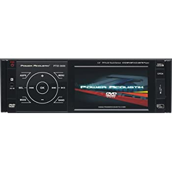 Power Acoustik PTID-3600 Single DIN A/V CD/DVD Receiver with 3.6-Inch TFT-LCD Monitor and Theft Deterrent Detachable Flip-down Faceplate Feather Touch Controls