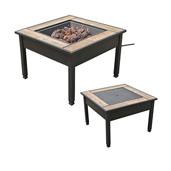 """Leisurelife 29"""" Square Ceramic Tile Top LP Gas Fire Pit Table - 45,000 BTU Output Dark brown metal frame with ceramic tiles surround Metal lid provides conversion to coffee table (and protection of the burner unit when not in use) - patio, outdoor-decor, fire-pits-outdoor-fireplaces - 41ueTfrAwIL. SS570  -"""