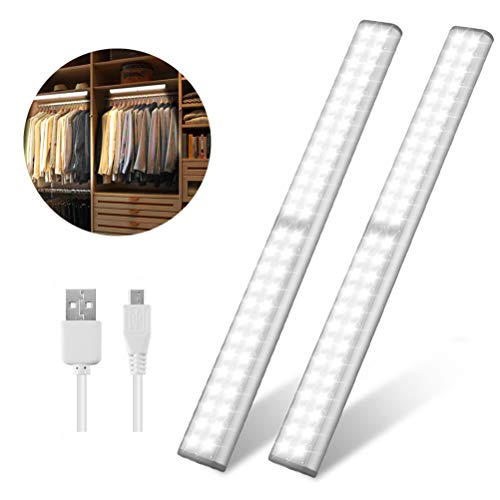 Led Closet Light, USB Rechargeable 52-LED Under-Cabinet Lighting, Wireless Motion Sensor Activated Night Light with Magnetic Strip for Closet, Cabinet, Wardrobe?2 Pack?