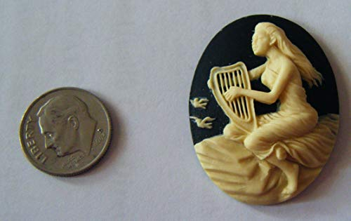 (Cabochon, Acrylic Cameo Mystical Lady with Harp and Birds Cabochon Ivory on Black 30x40mm Non-calibrated - One Piece)