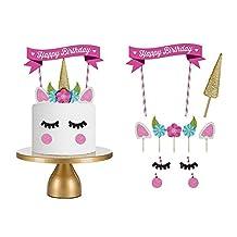 (set of 11)Unicorn Birthday Cake Topper. Unicorn Horn, Ears, flowers,and Eyelash Set. Unicorn Party Decoration for baby shower,wedding and birthday party