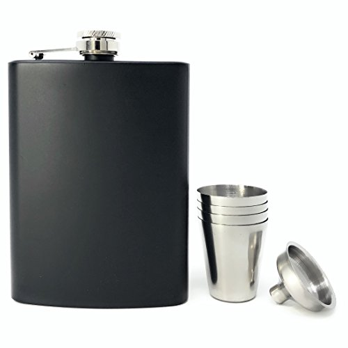 Hip Flask Box Set - TheBarsentials Gift Set Premium 8oz Hip Flask Leakproof Stainless Steel for Liquor with 4 Drinking Shot Glass and Funnel with Box for Men and Women (Matte Black)