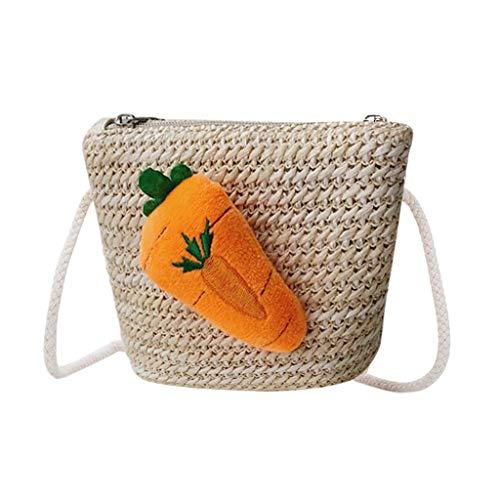 (CCFAMILY Children Lovely Weaving Bag Shoulder Messenger Coin Purse Pack For Child)