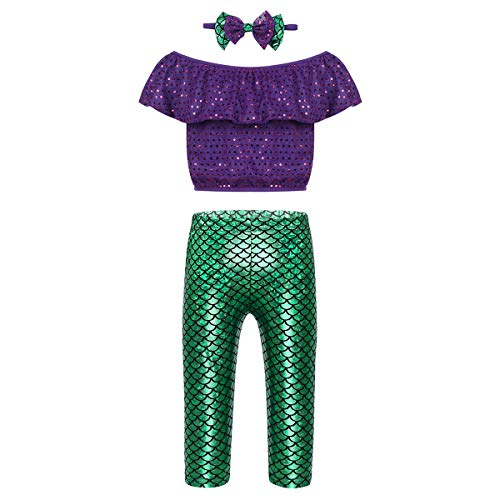 ranrann Girls 3PCS Mermaid Outfits Ruffle Sequins Crop Tops with Fish Scales Printed Pants Headband Set Purple&Green 3-4]()