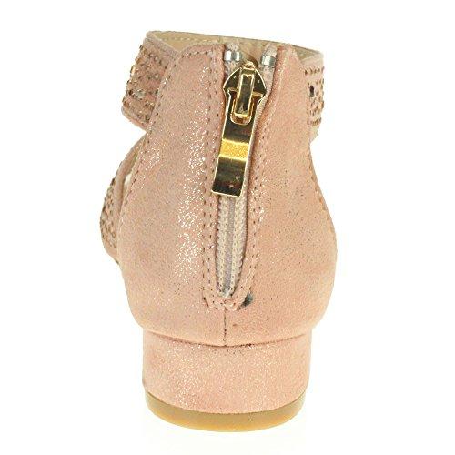 AARZ LONDON Mädchen Kinder Sparkly Diamant Abend Party Komfort Blockabsatz Sandalen Schuhe Größe Champagne