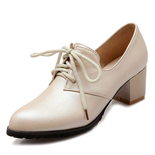 mujer con zapatos tamaño zapatos punta 0 SJJH medio UK Mujeres que con gran de Beige estrecha y Casual trabajan tacón 13 BwO16
