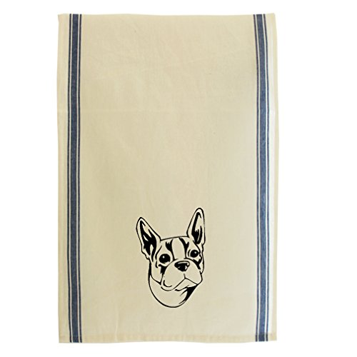 Boston Terrier Head Black Cotton Retro Stripe Dish Kitchen Towel Blue Stripe (Kitchen Terrier Towel)