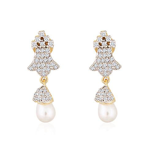 Fasherati CZ Studded Crown Earrings with Pearl Drop for Women