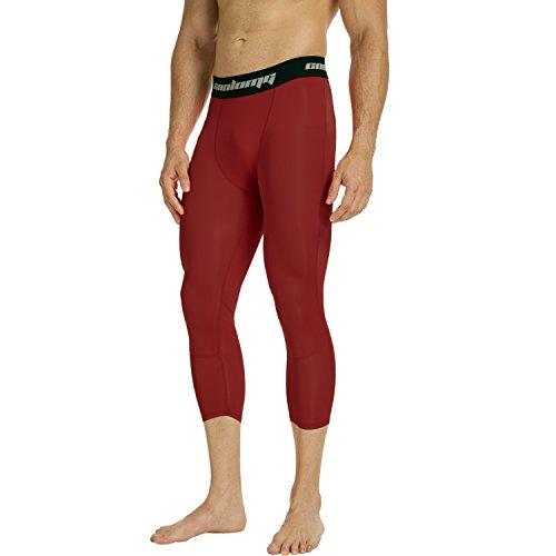 COOLOMG Compression Pants Running Tights 3/4 Capri