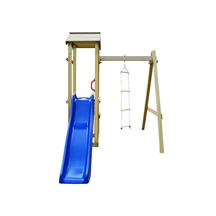 41ueW90WgtL Su robusta estructura es de madera de pino impregnado con certificación FSC. Este parque infantil de madera maciza es muy robusto, resistente a la intemperie y duradero. La escalera de cuerda está unida a la estructura mediante ganchos metálicos resistentes al desgaste.