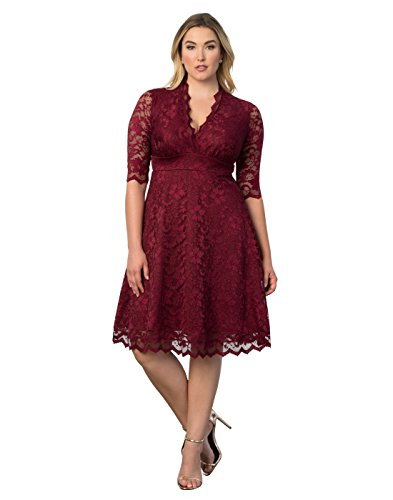 Kiyonna Womens Plus Size Mademoiselle Lace Dress Mother Of The