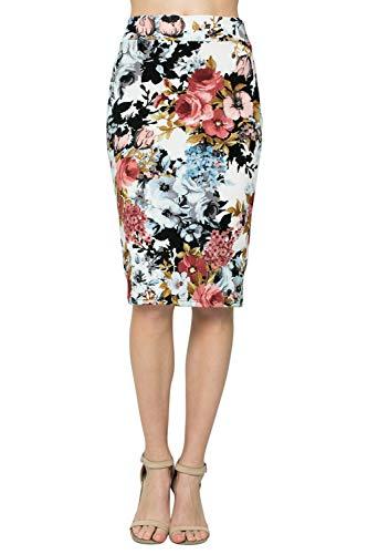 Junky Closet Women's Comfort Stretch Pencil Midi Skirt, Blue_BLK 2936, L