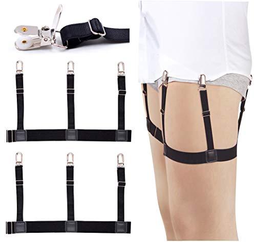 Mens Shirt Stays Garters Suspenders Shirt Holder Straps Non-slip Locking Clamps by Darller