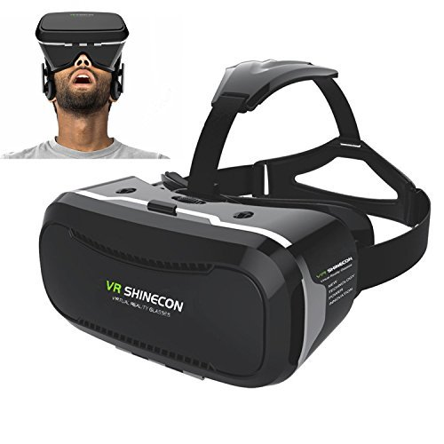 3D VR Glasses, Teesen Shinecon 2.0 3D VR Virtual Reality Headset Box with Head-mounted Headband Adjust Lens and Strap for Smartphones 4.5-6.0 inch iPhone Samung Give You 360 Degree Panoramic Viewing