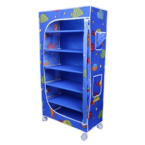 Little One's | 6 Shelves Baby Foldable Wardrobe | Aquatic Blue (Made in India)