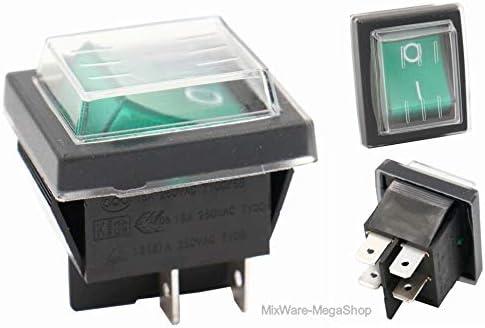 Geräte Schnurschalter 16A 250V~ mit wechselbare Wippschalter 2-polig