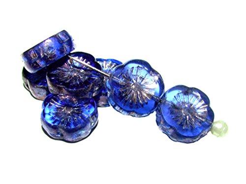 6pcs Czech Glass Beads Table Cut Flower 12 mm Sapphire Vega Iris