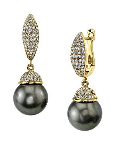 THE PEARL SOURCE 18K Gold 12-13mm Round Genuine Black Tahitian South Sea Cultured Pearl & Diamond Kendall Earrings Set for Women - Diamonds 13mm Tahitian Pearl Ring