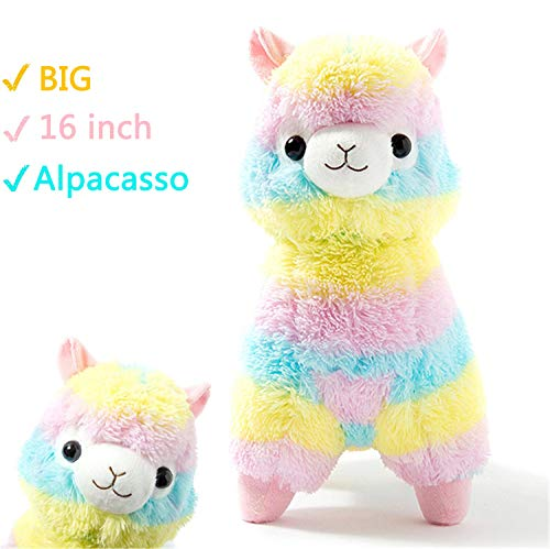 Alpacasso Rainbow Plush Alpaca Stuffed Toy, 16-Inch.