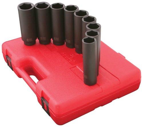 Sunex 2851 1/2-Inch Drive 5-Inch Extra Long Deep Metric Impact Socket Set, 12 Piece ()