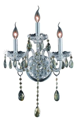 (Elegant Lighting 7953W3C-GT/RC Verona 20-Inch High 3-Light Wall Sconce, Chrome Finish with Golden Teak (Smoky) Royal Cut RC Crystal)