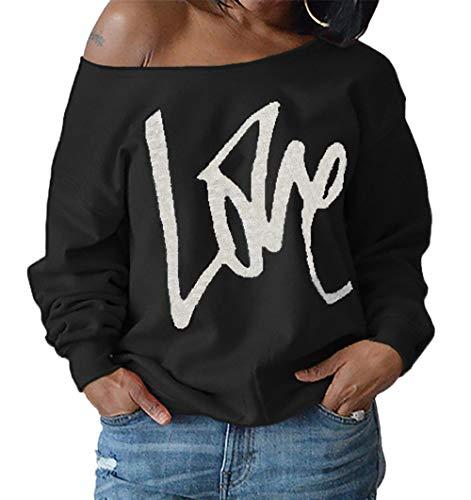 T Shirts Fashion Lache Noir Shirts Blouse Longues Casual Hauts paule Sweat Simple Pullover Jumpers Printemps Impression Femmes Pulls Lettre Oblique Manches Tops Automne Fashion et 6xqnvwSYAa