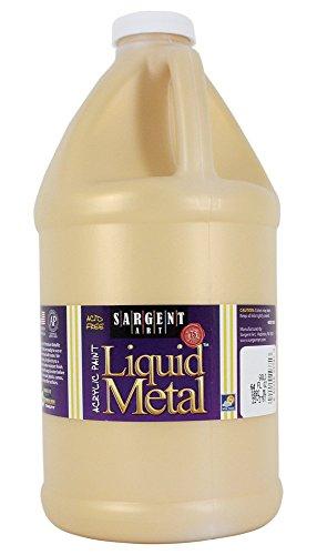 Sargent Art Half Gallon Liquid Metal Gold Acrylic Paint, (64-Ounce, 1/2 Gallon) 22-2781 (Renewed)
