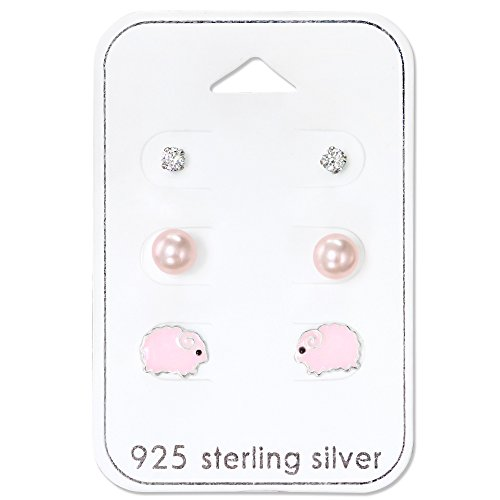 (925 Sterling Silver Hypoallergenic (SET OF 3) Pink Sheep, Synthetic Pearls, Crystal Stud Earrings for Girls or Women 30781)