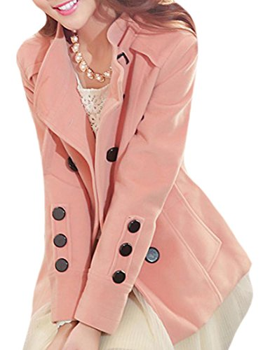 Pandapang Womens Double Breasted Slim Stand Neck Wool Blend Peacoat Pink M