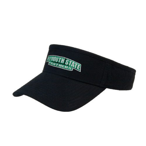 (Plymouth State Black Brushed Bull Denim Visor 'Plymouth State Panthers')