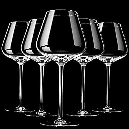 PPuujia 2 piezas de vidrio de vino tinto hecho a mano con nivel de colección de copas de vino tinto, cristal ultrafino, burdeos, copa para degustación del vientre, regalo de boda (color: 680 ml)