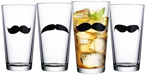 (Home Essentials Mustache Highball Glasses, 17 oz (Set of 4),, Clear)