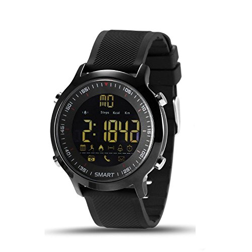 Elftear EX18 Smart Watch Men Sport Watch 5ATM Waterproof Bluetooth 4.0 Smartwatch Call Reminder Camera Remote Control Luminous Dial Watches for IOS Android (Black)
