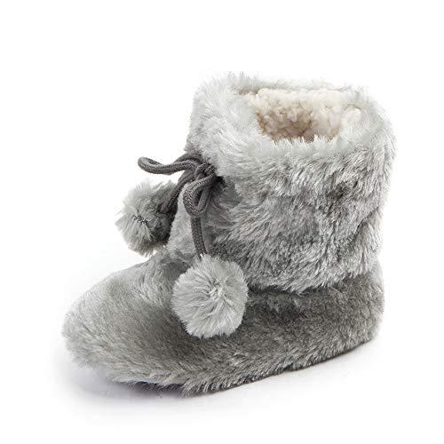 - Demonda Baby Boy Girl Plush Pompom Ball Soft Sole Snow Boots Ankle Bootie (6-12 Months, Grey)
