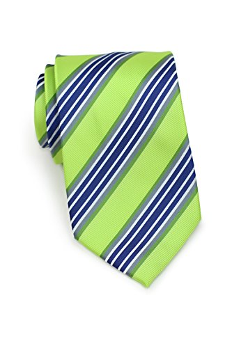 Bows-N-Ties Men's Necktie Bright Stripe Microfiber Tie Satin 3.25 Inches (Lime Green and Navy)