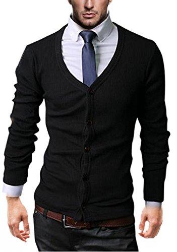 Modèle Slim Kayhan Homme Noir Chemise Coupe Cardigan IvwUxfHqw