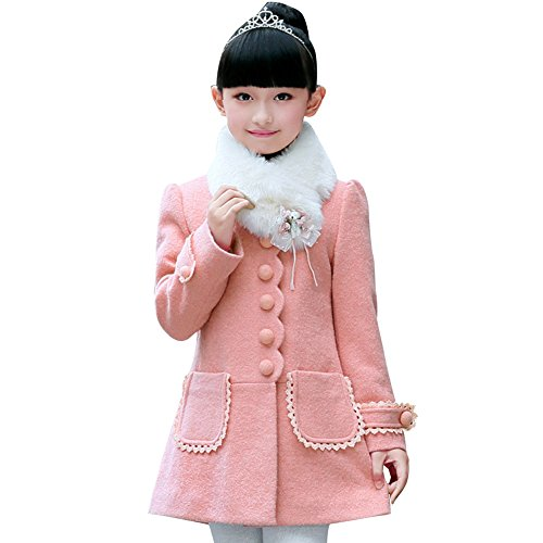 LSERVER Girl's Elegant Faux Fur Woolen Collar Fashion Warm Blended Winter Coat Lace Flower Princess Bowknot Jacket Pink